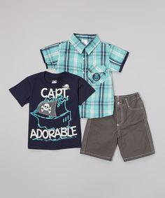 4f068179c445 Navy  Captain Adorable  Tee Set - Infant   Boys by Little Rebels