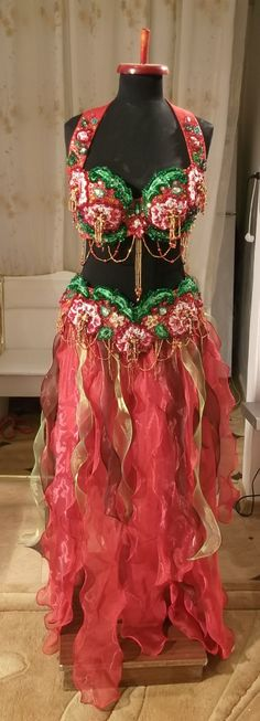 Belly dance costume red roses