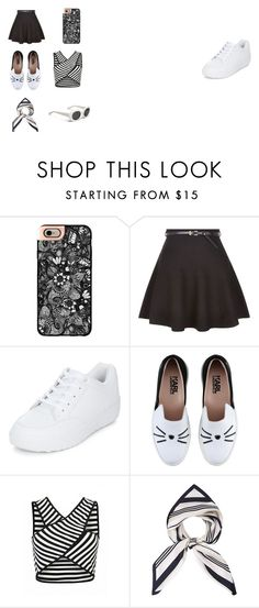 """""""leya"""" by chenaizalove ❤ liked on Polyvore featuring beauty, Casetify, New Look and Karl Lagerfeld"""