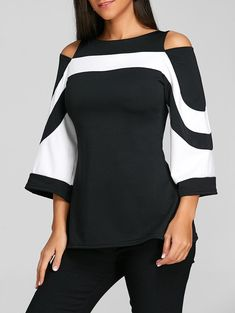 Gamiss Women Casual Fashion Flare Sleeve Cold Shoulder Two Tone Spring Blouse Boat Neck Three Quarter Blouse Shirt Women Tops Cold Shoulder Bluse, Look Fashion, Womens Fashion, Fashion Site, Cheap Fashion, Fashion Online, Fashion Stores, Fashion Outfits, Ladies Fashion