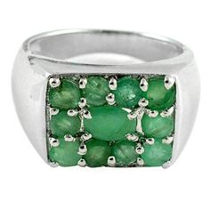 Unique Sweet Natural 2.4 Cts. Green Emerald 925 Sterling Silver Ring Size 7.5 US #silver_index #Cluster #Birthday