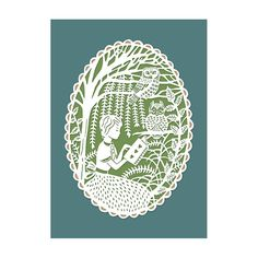5x7 Papercut Print  Reading in the Trees with by SarahTrumbauer
