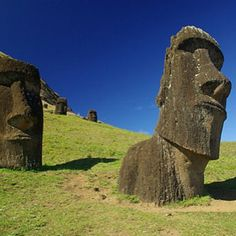 Easter Island. #easter #island #pacific #ocean #beach #tiki #statues #from #a #long #time #ago #green #grass #mystery #cool #pretty #followback #FF