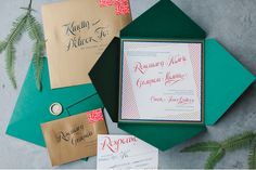 green invitation- statement colour looks wow and works on a  budget