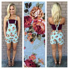 Floral Linen Short Overalls