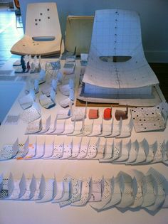 Part of the model making process behind the Random stacking chair, Studio Louise Campbell