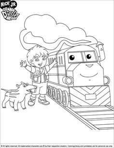 Go Diego Coloring Sheet And A Cool Train Pages For BoysFree Printable