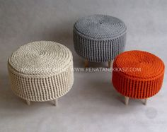 Crochet pouf crochet footstool round pouf knitted by RNArtDesign