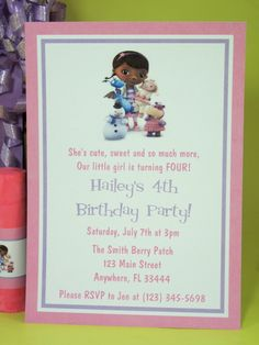 Doc McStuffins Birthday Party Ideas Doc McStuffins Party Ideas Personalized PDF files of all items pictured below are available for . First Birthday Party Themes, 4th Birthday Parties, 3rd Birthday, Birthday Ideas, Doc Mcstuffins Birthday Party, Bday Girl, Craft Party, Party Invitations, Invite