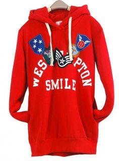 Red Honorary Badges Hooded Sweatshirt$43.00