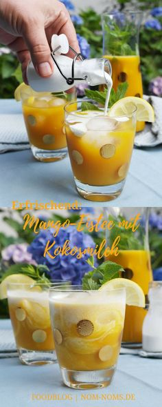 Erfrischender Mango-Eistee mit Kokosmilch #vegan #mango #eistee #kokos #kokosmilch Cocktail Drinks, Alcoholic Drinks, Cocktails, Slushies, Cantaloupe, Smoothies, Nom Nom, Mango, Wine