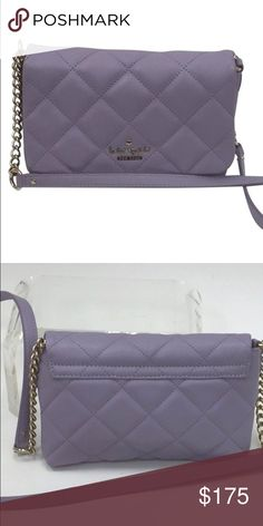 Authentic Kate Spade Lilac Quilted Shoulder Bag This gorgeous lilac purple quilted small shoulder bag features silver fittings, a chain and leather strap, flap snap closure, beige spade design interior lining that includes 1 zip pocket. kate spade Bags Shoulder Bags