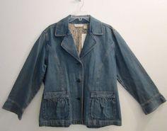 """J JILL 1X Blazer Denim Jean Jacket """"Out of the Blue"""" Lace Lining Vintage Wash #JJill #JeanJacket #plussizefashion #plussize #ebay #fashion #style #"""