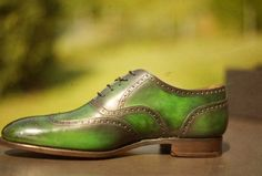Our new patina creation on a pair of Carlos Santos Wingtips.