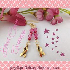 Beautiful and delicate #earrings for an awesome cause in #BreastCancer Awareness