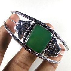 1 Piece Adjustable Cuff Bracelet Green Agate Gemstone 925 Silver Plated Jewelry #Unbranded #BangleCuff