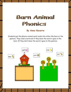 Barn Animal Phonics product from Mrs-Navarres-Shop on TeachersNotebook.com