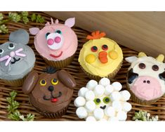 "Farm animal cupcakes...I LOVE cupcakes that decorate with candy & other ""easy to find"" objects!"