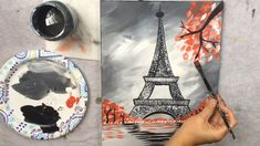 Only three paint colors are used for this painting! Learn how to paint online for beginners! This acrylic painting tutorial will show you how to paint an easy, Eiffel Tower with a gray background and red trees. - How To Paint An Eiffel Tower Step By Step Simple Canvas Paintings, Easy Canvas Painting, Diy Painting, Canvas Art, Easy Acrylic Paintings, Acrylic Painting For Kids, Paris Painting, Painted Canvas, Painting Flowers