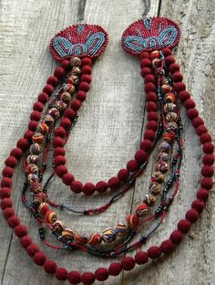 Handmade bead embroidered necklace - Red Grey - Russian shawl Beads Leather. $78.00, via Etsy.