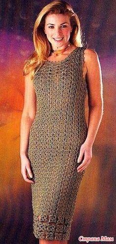 Это платье выглядит очень стильно и лаконично. Расход пряжи - 600 г шелковой нити цвета золота. Вязание крючком №3 Как вязать петли крючком: Воздушная петля (в. п.): в п.