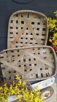 Tobacco Baskets Set of 2 Farmhouse Style, Vintage Woven Tobacco Baskets, Rutic Vintage Woven Tobacco Baskets, Farmhouse decor, Rustic Decor by FarmHouseFloraLs on Etsy