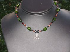 Poison Necklace RedGreen Beads with Skull & by BerrysBaubles, $20.00