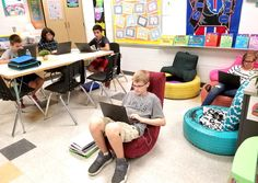 Flexible seating in a middle school classroom