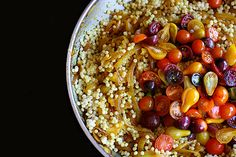 Israeli Couscous with turmeric, caramelized onions, and tomatoes. Gorgeous idea for practicing your couscous technique.