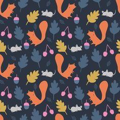 Little Cube - Sweet Autumn Day - Woodland Critters in Navy