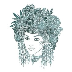 Green ink on white paper. Based on my old photo. Flowers In Hair, Flower Hair, Brazilian Embroidery, Dot Painting, Adult Coloring Pages, Doodle Art, Old Photos, Zentangle, Embroidery Stitches