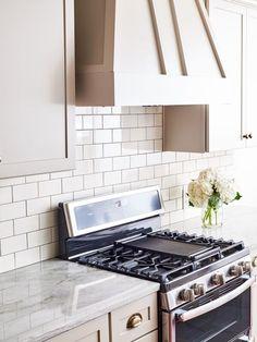 5th avenue 3x6 ivory glossy subway tile backsplash. A classic kitchen look!