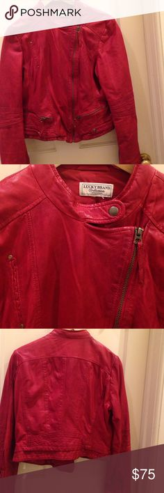 Lucky Brand Indio Red Leather Jacket Asymmetric front zipper, zipper accents on front and sleeves. Worn only 5 times. Very soft leather. Lucky Brand Jackets & Coats Utility Jackets