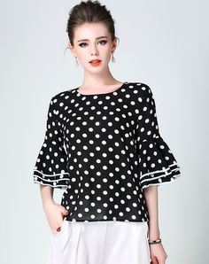 #AdoreWe #VIPme Blouses & Shirts❤️Designer DDER Black Polka Dot Bell Sleeve Slim Fit Blouse - AdoreWe.com Cool Outfits, Casual Outfits, Beautiful Blouses, Blouse Online, Business Fashion, Blouse Designs, Shirt Blouses, Street Style, Leather Pumps