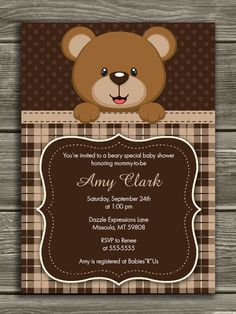 Bear Baby Shower Invitation  FREE thank you by DazzleExpressions, $15.00