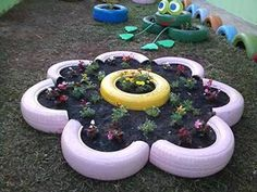 Arts & Crafts:  spray paint 5 old car tires, cut them in half, and create a flower bed for vegetable plants (plants may possibly be donated by a local Farm)