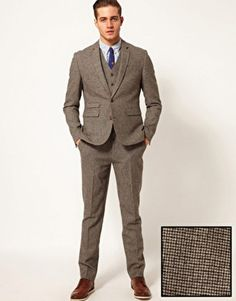 ASOS Slim Fit Suit in Houndstooth Groomswear Suit Ideas | Wedding Suits For A Groom