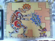 Post with 296 votes and 14570 views. Mayan Metroid painting my wife just finished (Mother Brain Fight) Metroid Samus, Samus Aran, Retro Video Games, Video Game Art, Maya, Super Metroid, Nintendo, Art Blog, Pixel Art