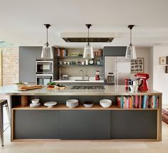 Kitchen Design Ideas: To Design A Stylish Kitchen With Cooking Island Kitchen Inspirations, Kitchen Island Bench, Modern Kitchen, Contemporary Kitchen, Kitchen Island Design, Home Kitchens, Kitchen Layout, Kitchen Living, Small Kitchen Decor