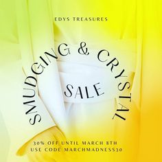 We are having a Sale 30% off Use code MARCHMADNESS30 to Save on Smudging and Crystals at checkout🥂🦄