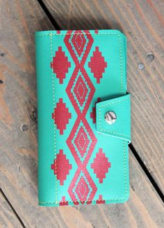 Turquoise & Red Navajo Inspired Womens Checkbook Wallet snap and zipper. $49.95, via Etsy. #wallet