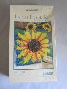 "Sunflower Latch Hook Kit #4607 Caron WonderArt 12"" x 12"" USA New Sealed #CaronWonderArt"