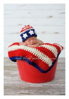 PDF American Flag Beanie Photography Prop CROCHET by JTeasycrochet, $3.99
