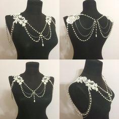 lace shoulder shoulder necklace wedding jewelry by WedWorld