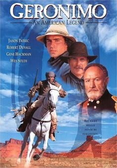 Robert Duvall, Gene Hackman, Jason Patric, and Wes Studi in Geronimo: An American Legend Jason Patric, Robert Duvall, Native American Movies, American Legend, American Art, American History, Western Film, Western Movies, Geronimo