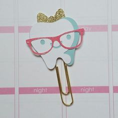 Tooth with bow Paper Clip // Planner Clip // by CuteByDesignCo