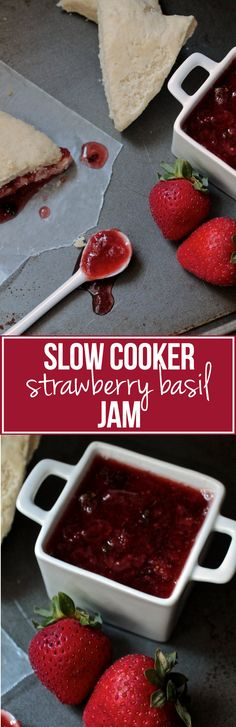 Slow Cooker Strawberry Basil Jam | Try this easy and delicious recipe for homemade strawberry jam - the perfect topping for scones, toast, and even fish or chicken!