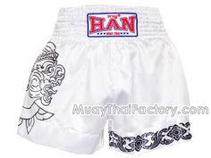 Han Muay Thai HAN Muay Thai shorts- Monkey Warrior - White for sale.  [HN-S-060-W]