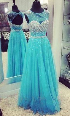 A-Line Beading Tulle Long Prom Dress Evening Dress,Sleeveless prom dress,Sweetheart dress