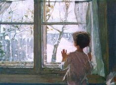 Looking out at the snowy landscape : Helene Schjerfbeck Helene Schjerfbeck, Winter Illustration, Illustration Art, Soviet Art, Winter Is Here, Winter Snow, Window View, Abstract Images, Russian Art